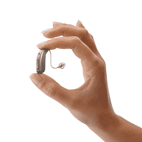 Hand with hearing aid device